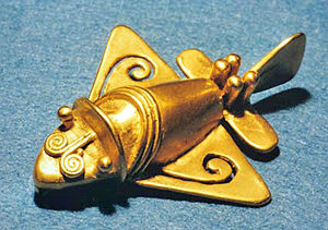 One of the Quimbaya artifacts that looks like a plane or an insect.